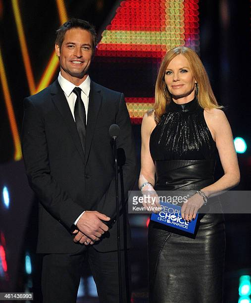 Actors Josh Holloway and Marg Helgenberger speak onstage at The 40th Annual People's Choice Awards at Nokia Theatre LA Live on January 8 2014 in Los...