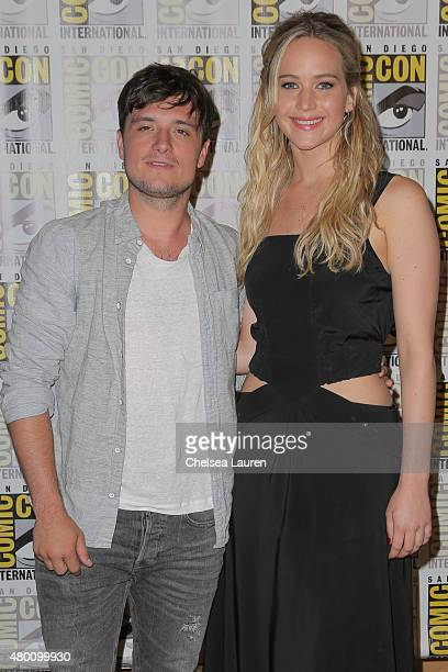 Actors Josh Hutcherson and Jennifer Lawrence attend ComicCon International on July 9 2015 in San Diego California
