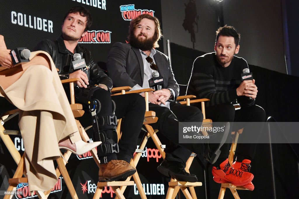 Actors Josh Hutcherson, Haley Joel Osment, and Derek Wilson participate in Hulu's Future Man panel at New York Comic Con at Jacob Javits Center on October 6, 2017 in New York City.