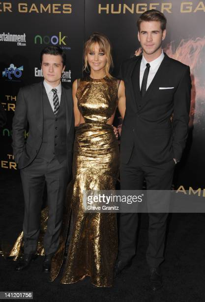 """Actors Josh Hutcherson, Jennifer Lawrence and Liam Hemsworth arrive at """"The Hunger Games"""" Los Angeles premiere held at Nokia Theatre L.A. Live on..."""