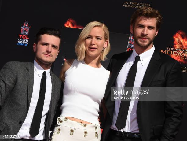 """Actors Josh Hutcherson, Jennifer Lawrence and Liam Hemsworth attend Lionsgate's """"The Hunger Games: Mockingjay - Part 2"""" Hand and Footprint Ceremony..."""