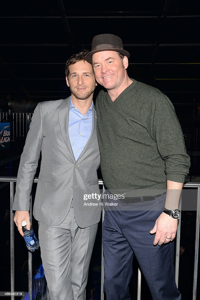 Actors Josh Lucas (L) and David Koechner attend the Bud Light Hotel on February 1, 2014 in New York City.