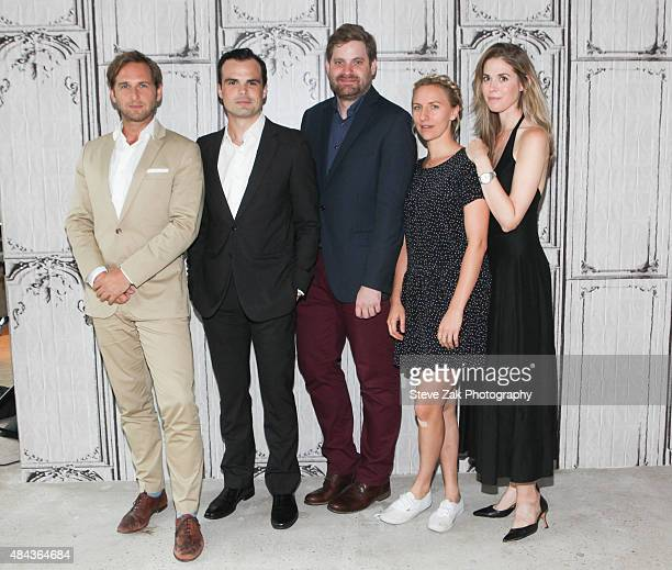 Actors Josh Lucas Stephen Plunkett director John Magary Mickey Sumner and Lucy Owen attend AOL's BUILD Speaker Series Present 'The Mend' at AOL...