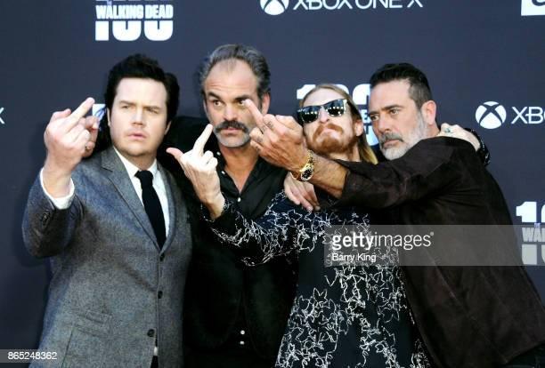 Actors Josh McDermitt Steven Ogg Austin Amelio and Jeffrey Dean Morgan attend AMC Celebrates The 100th Episode Of 'The Walking Dead' at The Greek...