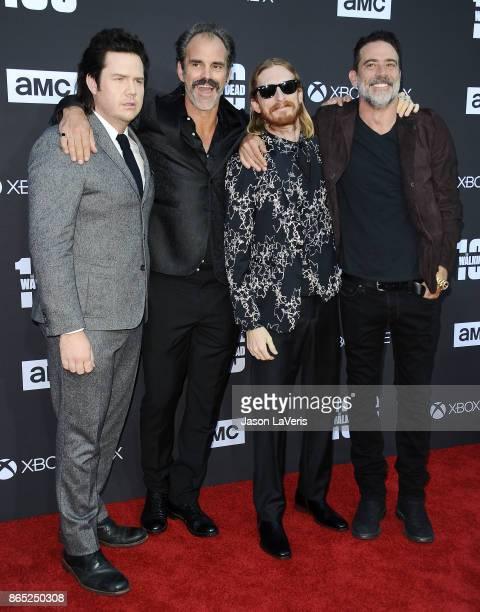 Actors Josh McDermitt Steven Ogg Austin Amelio and Jeffrey Dean Morgan attend the 100th episode celebration off 'The Walking Dead' at The Greek...