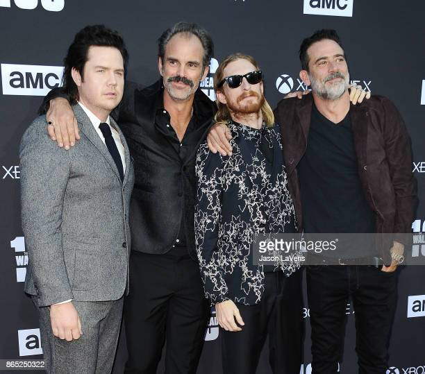 Actors Josh McDermitt Steven Ogg Austin Amelio and Jeffrey Dean Morgan attend the 100th episode celebration off 'The Walking Dead' at The Greek...