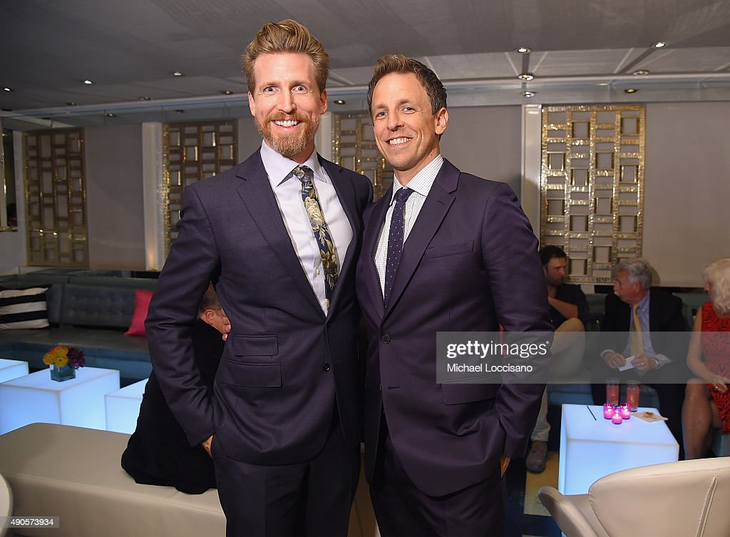 Actors Josh Meyers and Seth Meyers attend the Amazon red carpet premiere for the brand new original comedy series 'Red Oaks' on September 29, 2015 in New York City.