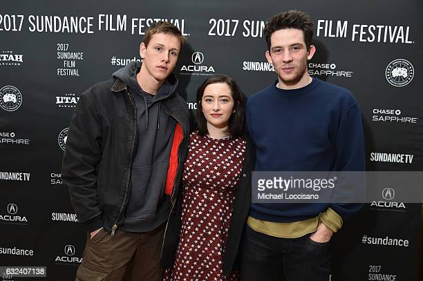 Actors Josh O'Connor Abby Quinn and Harris Dickinson attend the Cinema Cafe on day 4 of the 2017 Sundance Film Festival at Filmmaker Lodge on January...