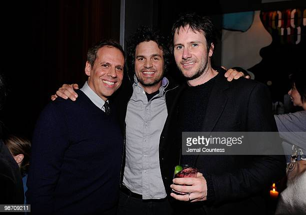 Actors Josh Pais Mark Ruffalo and Josh Hamilton attend the Please Give after party during the 2010 Tribeca Film Festival at Thom Bar on April 27 2010...