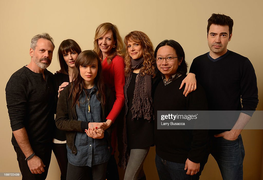 Actors Josh Pais, Rosemarie DeWitt, Ellen Page, Allison Janney, director/writer Lynn Shelton, actor Tomo Nakayama and actor Ron Livingston pose for a portrait during the 2013 Sundance Film Festival at the Getty Images Portrait Studio at Village at the Lift on January 19, 2013 in Park City, Utah.