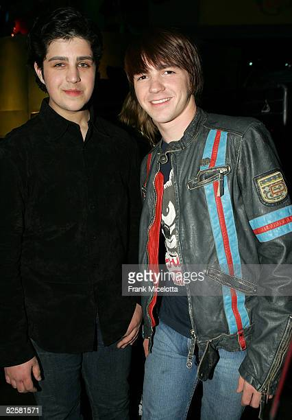 Actors Josh Peck and Drake Bell are seen backstage at the 18th Annual Kids Choice Awards at UCLA's Pauley Pavillion on April 2 2005 in Westwood...