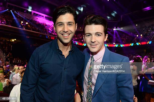 Actors Josh Peck and Drake Bell attend Nickelodeon's 27th Annual Kids' Choice Awards held at USC Galen Center on March 29 2014 in Los Angeles...
