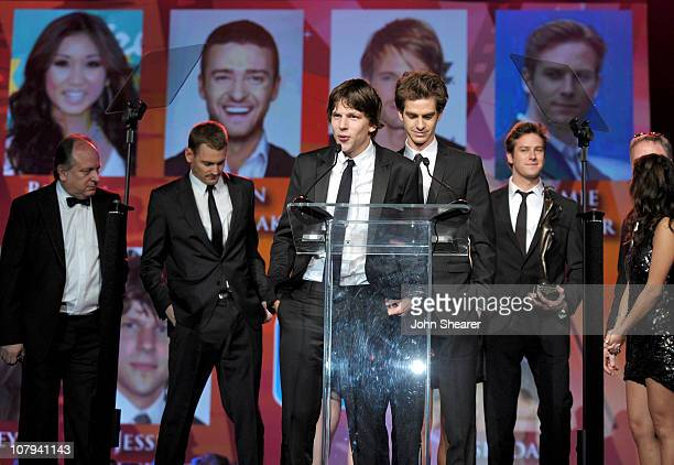 Actors Josh Pence Jesse Eisenberg and Armie Hammer accept the Ensemble Performance Award at the 22nd Annual Palm Springs International Film Festival...