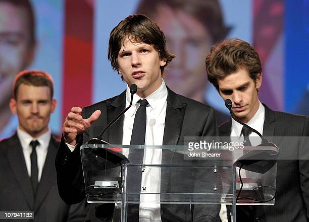 Actors Josh Pense Jesse Eisenberg and Andrew Garfield accept the Ensemble Performance Award at the 22nd Annual Palm Springs International Film...