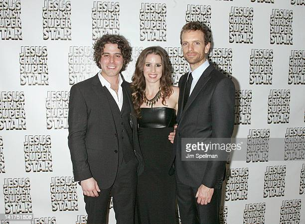 Actors Josh Young Chilina Kennedy and Paul Nolan attend the after party for the Jesus Christ Superstar Broadway opening night at the New York Hilton...
