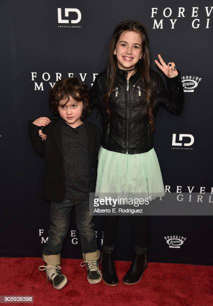 Actors Joshua Fortson and Abby Ryder Fortson attends the premiere of Roadside Attractions' 'Forever My Girl' at The London West Hollywood on January...