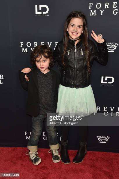 Actors Joshua Fortson and Abby Ryder Fortson attends the premiere of Roadside Attractions' Forever My Girl at The London West Hollywood on January 16...