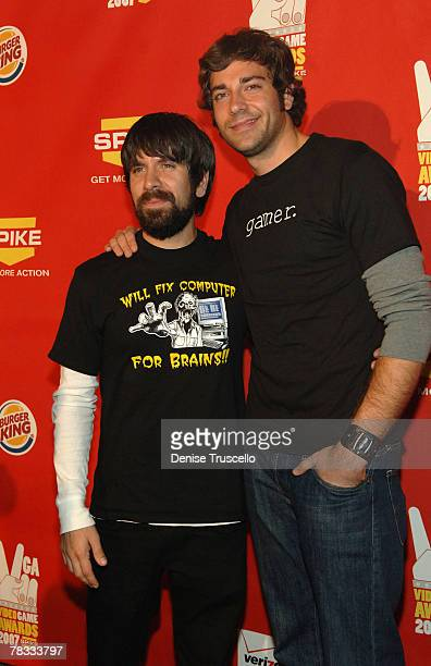 Actors Joshua Gomez and Zachary Levi arrive at Spike TV's 2007 Video Game Awards at the Mandalay Bay Events Center on December 7 2007 in Las Vegas...