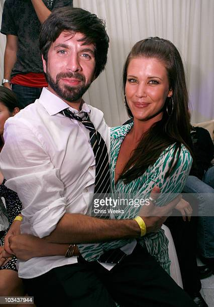 Actors Joshua Gomez left and Sarah Lancaster attend NBC's CHUCK premiere party at PURE Nightclub on September 22 2007 in Las Vegas Nevada