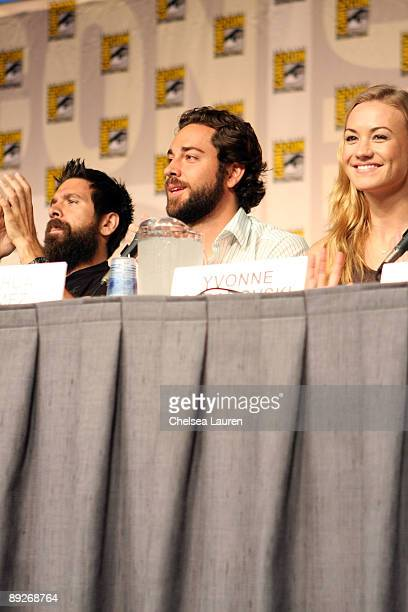 Actors Joshua Gomez Zachary Levi and Sarah Lancaster attends the Chuck panel on day 3 of the 2009 ComicCon International Convention on July 25 2009...
