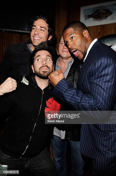 Actors Joshua Gomez Zachary Levi Michael Cudlitz and former NFL player Michael Strahan attend the 3rd Annual Saturday Night Spectacular hosted by...