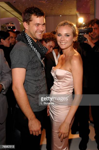 Actors Joshua Jackson and Diane Kruger at the Just Cavalli New York Flagship store opening during MercedesBenz Fashion Week Spring 2008 on September...