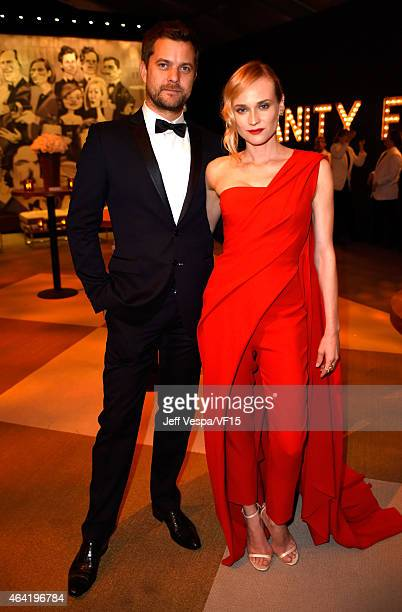 Actors Joshua Jackson and Diane Kruger attend the 2015 Vanity Fair Oscar Party Viewing Dinner hosted by Graydon Carter at the Wallis Annenberg Center...