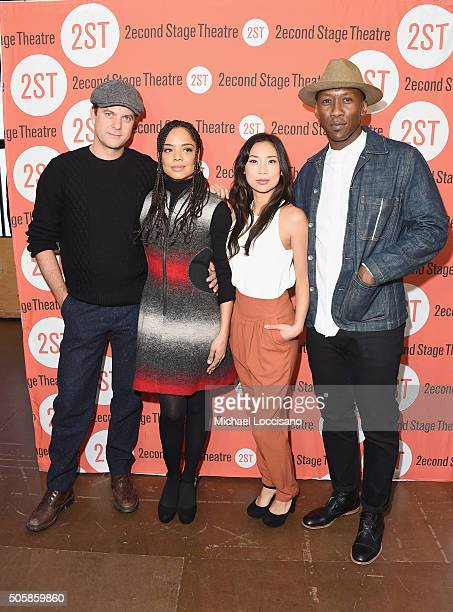 Actors Joshua Jackson Tessa Thompson Anne Son and Mahershala Ali attend the 'Smart People' cast photo call at Second Stage Theatre on January 20 2016...
