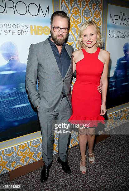 """Actors Joshua Leonard and Alison Pill attend the Premiere of HBO's """"The Newsroom"""" Season 3 at Directors Guild Of America on November 4, 2014 in Los..."""