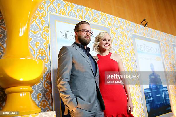 Actors Joshua Leonard and Alison Pill attend the Premiere of HBO's The Newsroom Season 3 at Directors Guild Of America on November 4 2014 in Los...