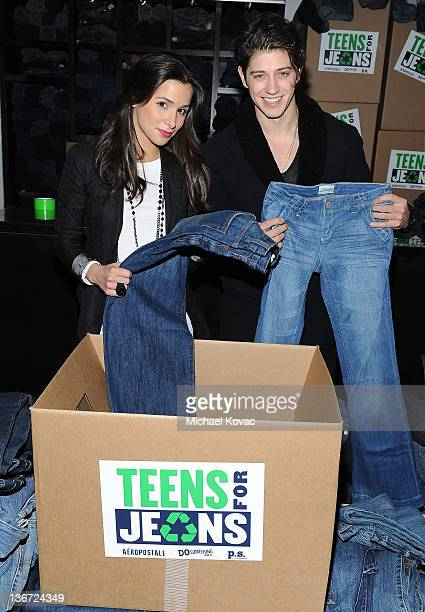 Actors Josie Loren and Chris Galya attend DoSomethingorg Aeropostale's Teens for Jeans Kickoff Party at Palihouse on January 10 2012 in West...