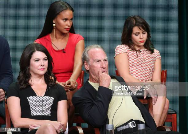 Actors Joy Bryant Mae Whitman Lauren Graham and Craig T Nelson speak onstage during the 'Parenthood' panel discussion at the NBC portion of the 2013...