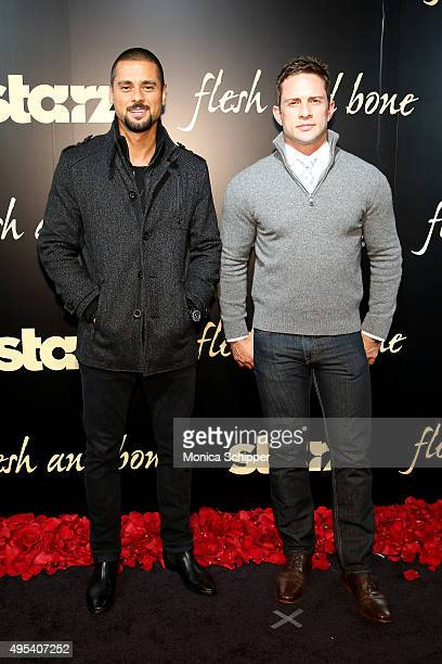 Actors JR Ramirez and David Fumero attend Flesh And Bone New York limited series premiere at Jack H Skirball Center for the Performing Arts on...