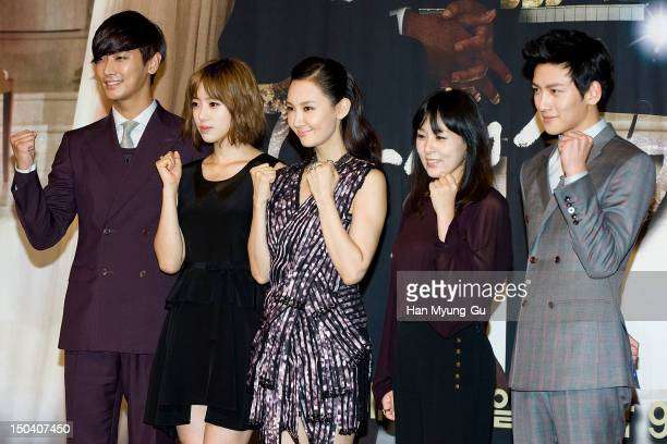 Actors Ju JiHoon EunJung of South Korean girl group Tara Chae SiRa Jeon MiSun and Ji ChangWook attend during a press conference to promote the SBS...