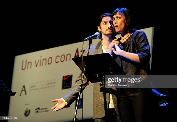 Actors Juan Diego Botto and Maria Barranco attend Rafael Azcona Homage at Circulo de Bellas Artes on April 14 2008 in Madrid Spain