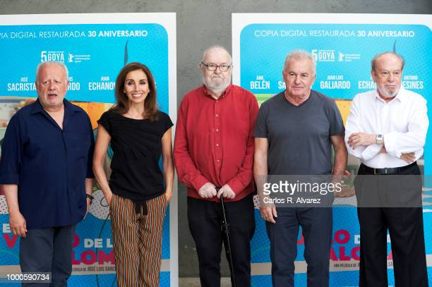 Actors Juan Echanove Ana Belen director Jose Luis Garcia Sanchez singer Victor Manuel and Fernando Arribas attend 'El Vuelo de La Paloma' 30th...