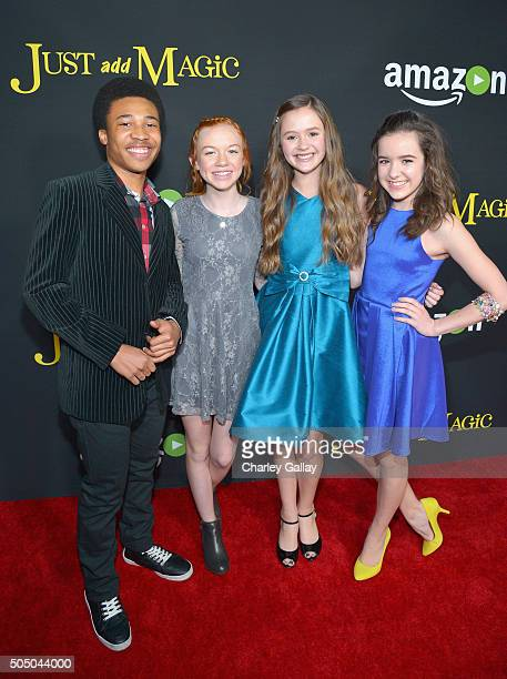 Actors Judah Bellamy Abby Donnelly Olivia Sanabia and Aubrey K Miller attend Amazon red carpet premiere screening at the Arclight Hollywood for...