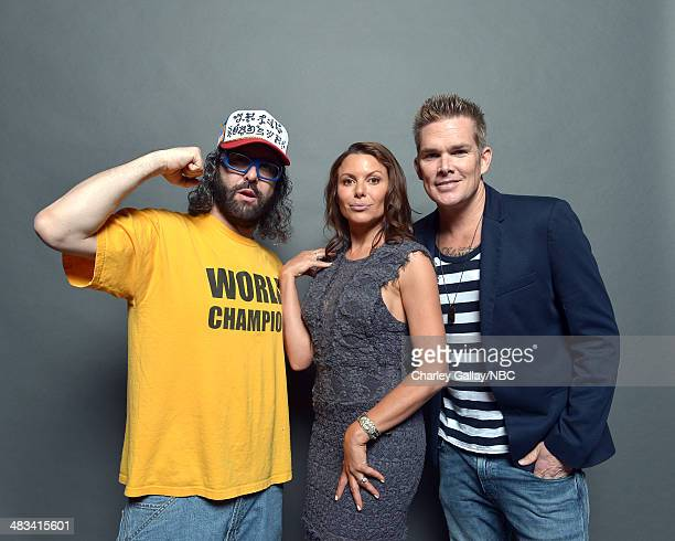 Actors Judah Friedlander, Kari Wuhrer and Mark McGrath pose for a portrait during the 2014 NBCUniversal Summer Press Day at The Langham Huntington on...