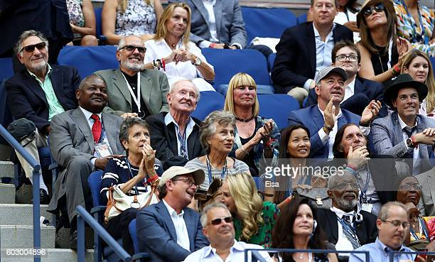Actors Judd Hirsch and Michael Cristofer Rod Laver actor Kevin Spacey Evan Lowenstein Guillermo Vilas and actors Michael J Fox and Tracy Pollan...