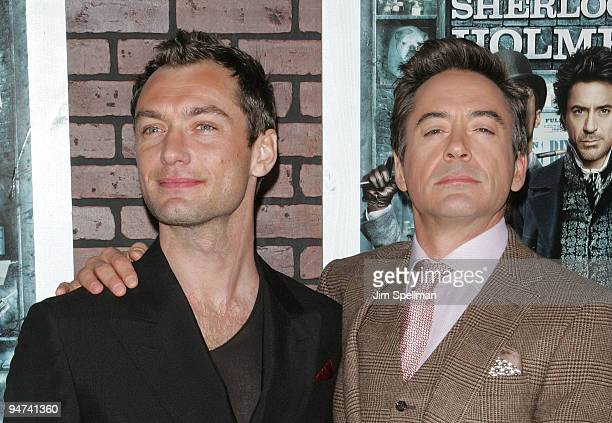 "Actors Jude Law and Robert Downey Jr. Attend the New York premiere of ""Sherlock Holmes"" at the Alice Tully Hall, Lincoln Center on December 17, 2009..."