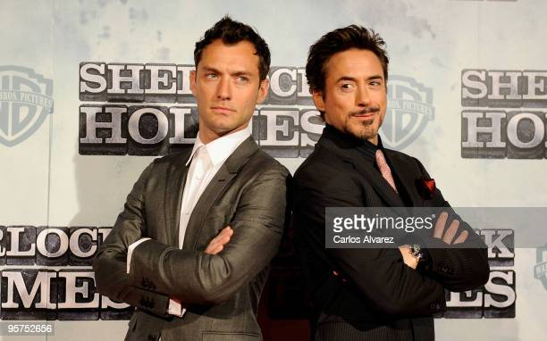 "Actors Jude Law and Robert Downey Jr attend the ""Sherlock Holmes"" premiere at Kinepolis cinema on January 13, 2010 in Madrid, Spain."