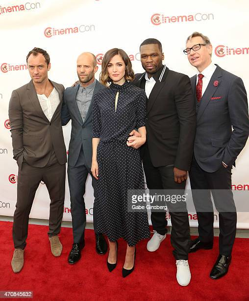 Actors Jude Law Jason Statham Rose Byrne rapper Curtis 50 Cent Jackson III and Director Paul Feig attend 20th Century Fox Presentation during 2015...