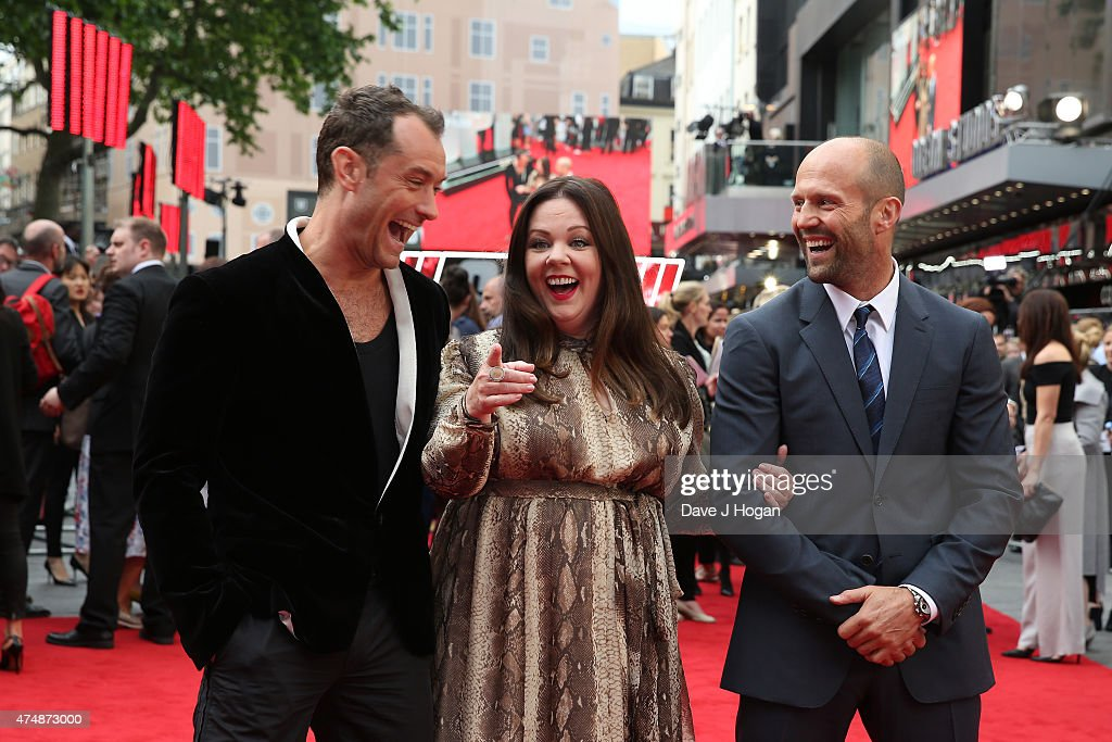 Actors Jude Law, Melissa McCarthy and Jason Statham attend the UK Premiere of 'Spy' at Odeon Leicester Square on May 27, 2015 in London, Jude Law, England.