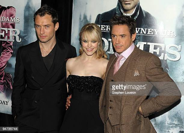 "Actors Jude Law, Rachel McAdams and Robert Downey Jr. Attend the premiere of ""Sherlock Holmes"" at the Alice Tully Hall, Lincoln Center on December..."