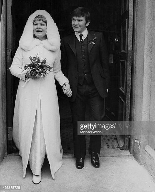 Actors Judi Dench and Michael Williams both of the Royal Shakespeare Company getting married at St Mary's Roman Catholic Church Hampstead London...