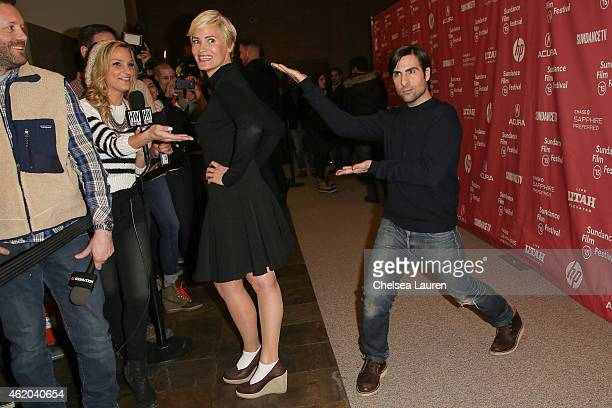 Actors Judith Godreche and Jason Schwartzman arrive at 'The Overnight' premiere during the 2015 Sundance Film Festival on January 23 2015 in Park...