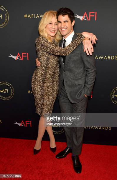 Actors Judith Light and Darren Criss attend the 19th Annual AFI Awards at Four Seasons Hotel Los Angeles at Beverly Hills on January 4 2019 in Los...