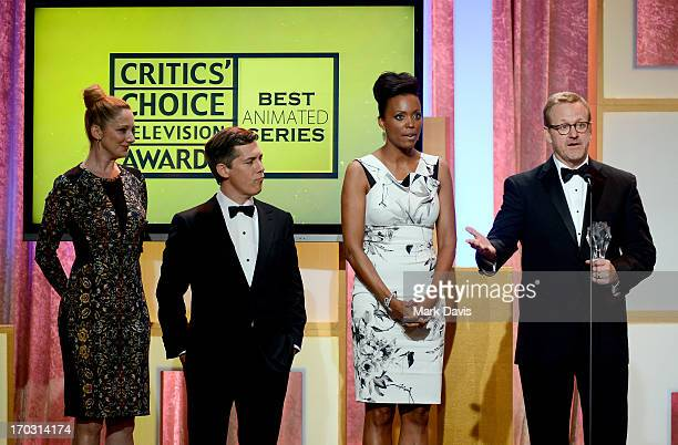 Actors Judy Greer Chris Parnell Aisha Tyler and executive producer/writer Matt Thompson accept the Best Animated Series award for Archer onstage...