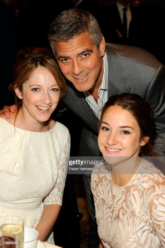 Actors Judy Greer, George Clooney and Shailene Woodley attend the 12th Annual AFI Awards held at the Four Seasons Hotel Los Angeles at Beverly Hills on January 13, 2012 in Beverly Hills, California.