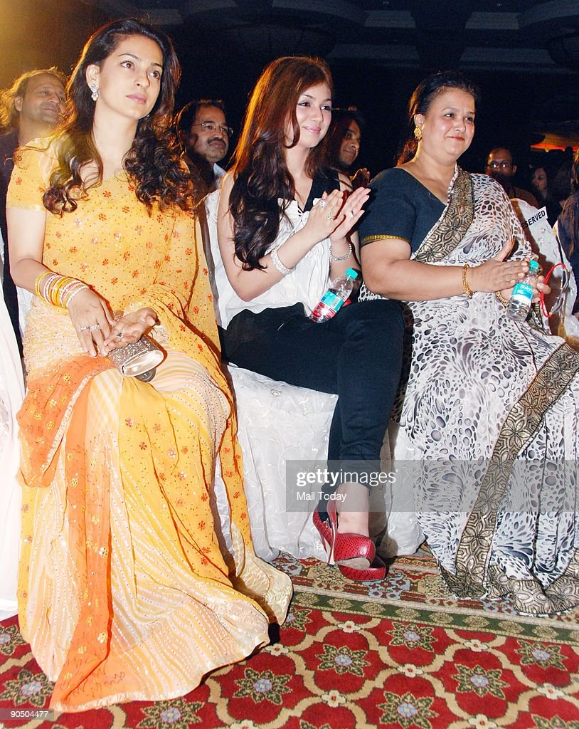 Actors Juhi Chawla and Ayesha Takia with Ayesha`s mother Faridah at the B D Hair and Makeup Awards at the JW Marriott hotel in Mumbai on Tuesday...
